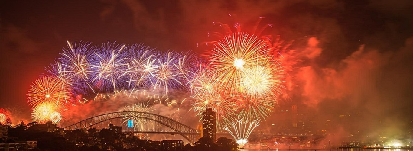 The fireworks over Sydney Harbour Bridge celebrating the new year.