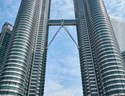 View from the the bottom of the Petronas Twin Towers in Kuala Lumpur