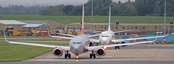 Two Jet2.com aircraft taxiing at Birmingham Airport