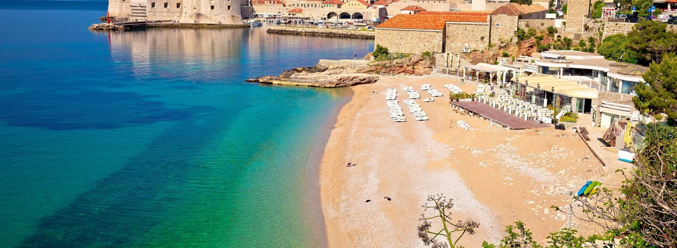 Historic town of Dubrovnik and Banje beach view, Dalmatia region of Croatia